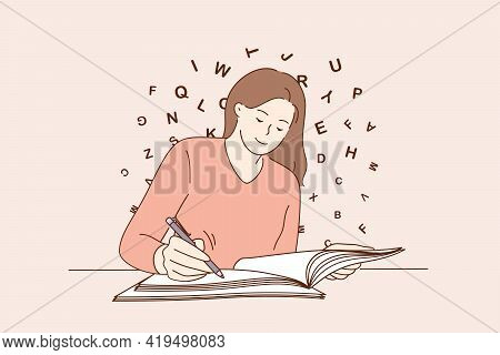 Education, Copy Space, Writing Concept. Young Smiling Woman Sitting Writing On Blank Notebook On Tab