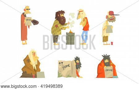 Homeless Bearded Man Characters In Rags Living On The Streets Looking Shabby And Hungry Vector Set