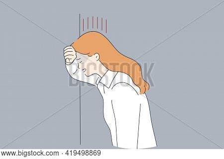 Grief, Depression, Negative Emotions Concept. Stressed Crying Sad Young Woman Standing Near Wall Wit