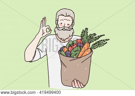 Healthy Vegan Food And Lifestyle Concept. Young Happy Positive Elderly Man Cartoon Character Standin