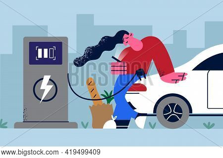 Alternative Eco-sustainable Lifestyle Concept. Young Smiling Woman Cartoon Character Charging Electr