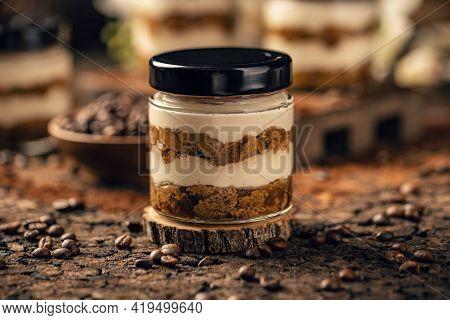 Traditional Italian Dessert Tiramisu In Jar, Still Life