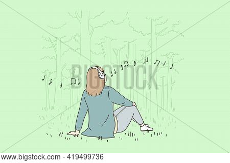 Recreation, Leisure And Listening To Music Concept. Young Happy Woman Cartoon Character In Headphone