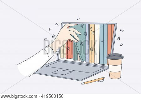 Online Library, Education In Internet Concept. Human Hand Taking E-book From Laptop Screen With Diff
