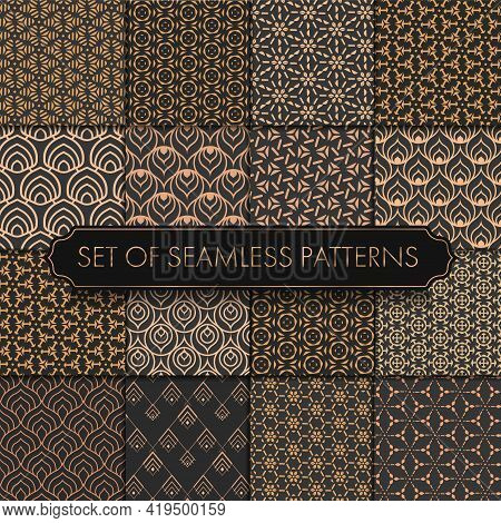 Repeat Ornament Graphic Gold Repeat Pattern. Seamless Linear Vector White Decor Texture. Seamless Re