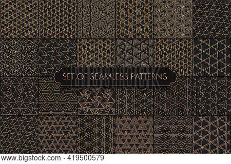 Repeat White Graphic Gold Decor Texture. Seamless Simple Vector Black Design Pattern. Repeat Retro V