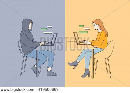 Online Dating Fraud, Trick In Internet Communication Concept. Young Happy Smiling Female Sitting At