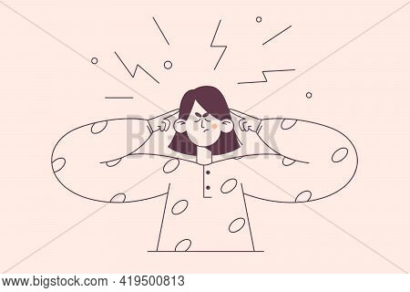 Emotional Stress, Rage, Tiredness Concept. Emotional Angry Young Woman Cartoon Character Standing Co
