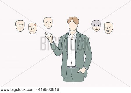 Choosing Mood, Self Identity Concept. Businessman Without Face Standing And Choosing Right Mask To W