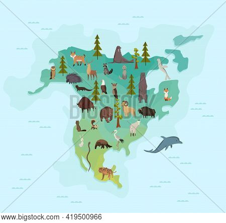 Animal Map Of North America. Nature Fauna Cartography Concept. Geographical Map With Local Fauna. Co
