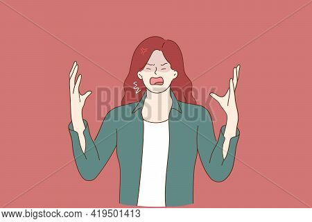Hate, Rage, Emotional Scream Concept. Crying Emotional Angry Young Woman Cartoon Character Standing