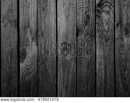 Wooden Wall Paneling. White Gray Wood Texture. Old Panels Background. Horizontal Planks. Black And W