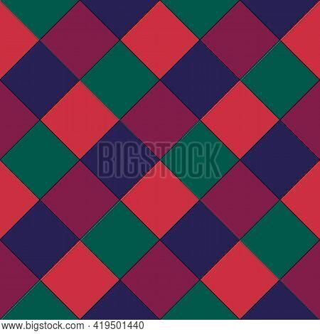 Diamonds And Rhombuses Seamless Pattern. Tiles And Checks Backdrop. Ethnic Ornate. Folk Ornament. Ge