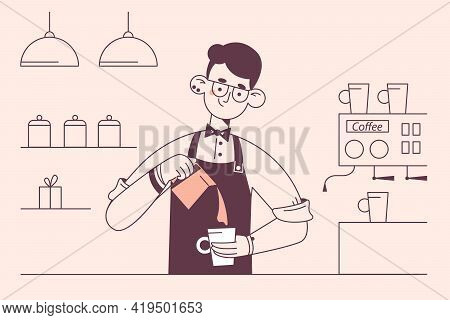 Barista During Work Concept. Young Smiling Man Barista Cartoon Character Working At Cafeteria Making