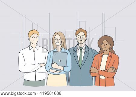 Teamwork, Success, Office Workers Concept. Group Of Positive Workers Business People Partners Standi