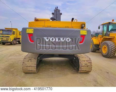 Kiyv, Ukraine - August 30, 2020: Modern Hydraulic Excavator Or Volvo Ec 250 Dl On A Field Work Site
