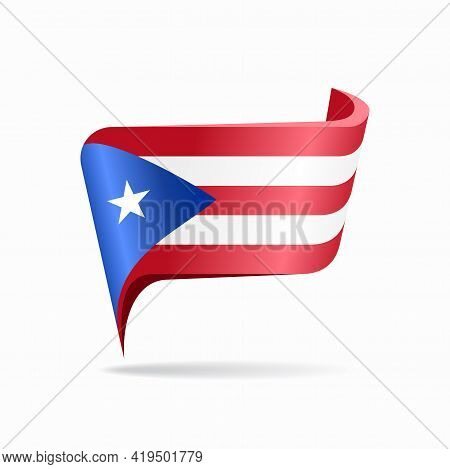 Puerto Rican Flag Map Pointer Layout. Vector Illustration.