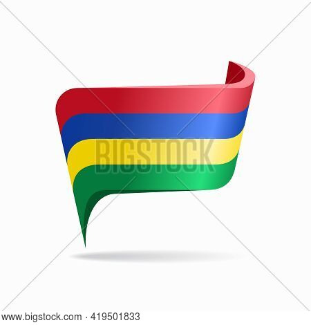 Mauritius Flag Map Pointer Layout. Vector Illustration.