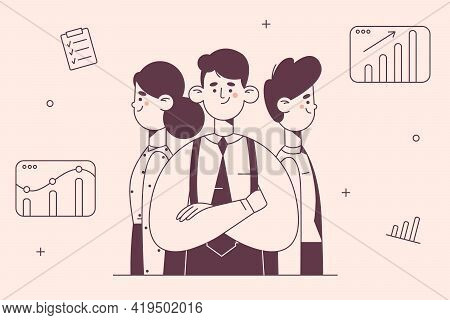 Teamwork, Coworking, Business Development Concept. Office Workers Partners Standing Back To Back As