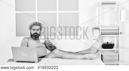Barefoot Guy Working From Home. Developer Work Computer. Social Networks Communication. Social Dista