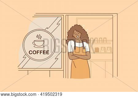 Barista During Work Concept. Young Smiling Black Woman Barista Cartoon Character Working At Cafeteri