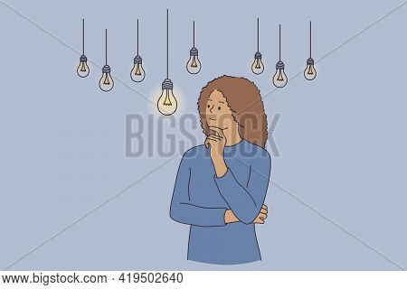 Innovation, Creativity, New Idea Concept. Thoughtful Young Woman Cartoon Character Standing Holding
