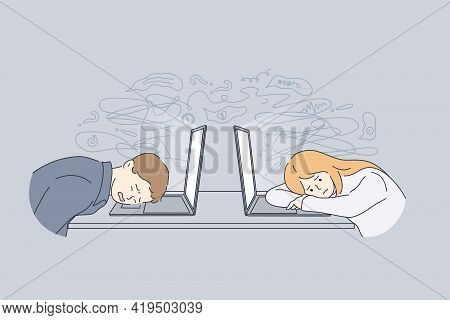 Stress, Tiredness, Burnout Concept. Overworked Exhausted Office Workers Lying On Laptops Feeling Tir