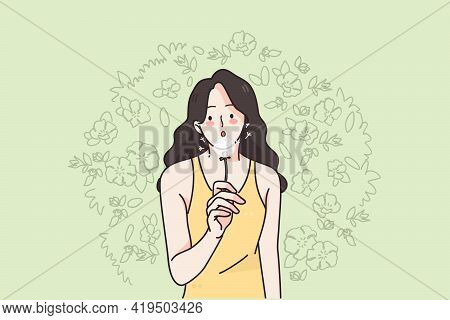 Woman And Nature On Summer Concept. Young Positive Female Cartoon Character In Summer Clothes Standi