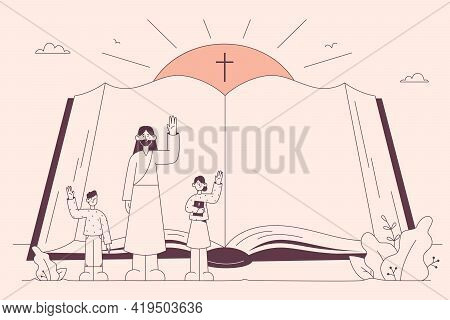 Holy Bible, Christianity, Religion Concept. Open Religious Book With Jesus And Children Characters W