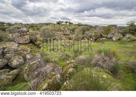 Spectacular Granitic Landscape Of Cornalvo Natural Park, Extremadura, Spain