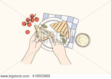 Cooking, Food Preparation, Breakfast Concept. Human Hands Making Sandwich With Cherry Tomato Cream C