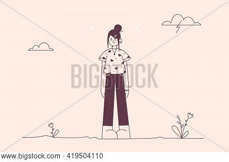 Self Esteem, Self Confidence, Strength Concept. Young Frustrated Woman Cartoon Character Standing Lo
