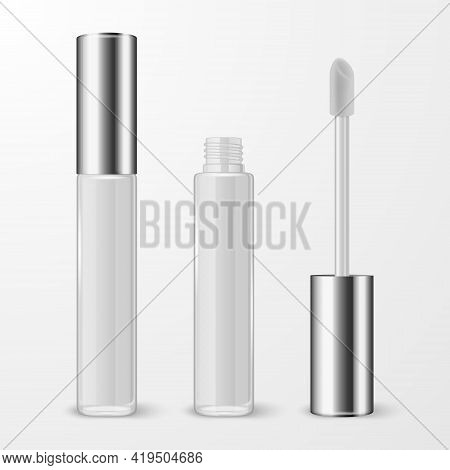 Vector 3d Realistic Closed, Opened White Lip Gloss, Lipstick Package, Silver Cap Set Isolated. Glass