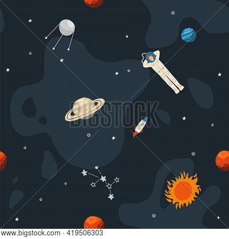 Seamless Cute Space Seamless Pattern With Lonely Astronaut Between Planets And Rockets. Empty Space.