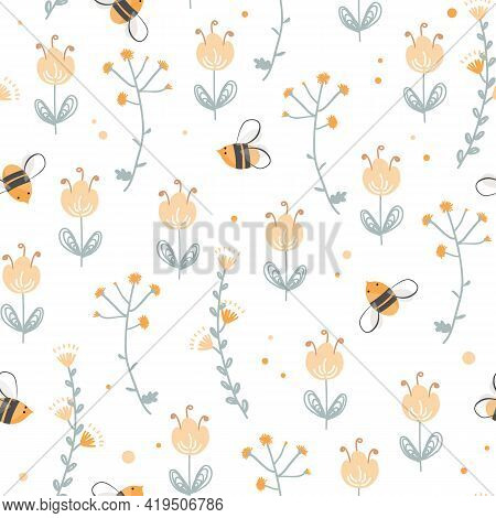 Vector Seamless Pattern With Cute Bee And Doodle Flowers. Vintage Hand Drawing Floral Texture. Carto