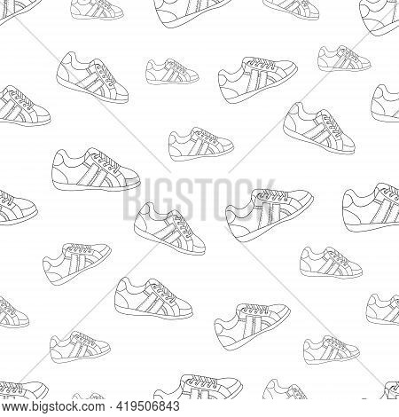 Fashionable Shoes Seamless Pattern. Women's And Men's Sneakers. Fashionable Lifestyle Illustration.
