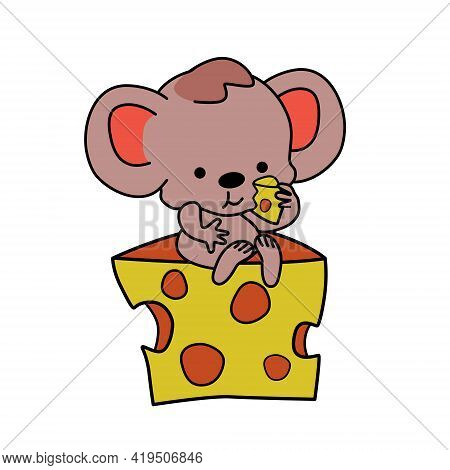 Mouse Or Rat With Cheese. Cartoon Illustration, Funny Mouse Eats Cheese.