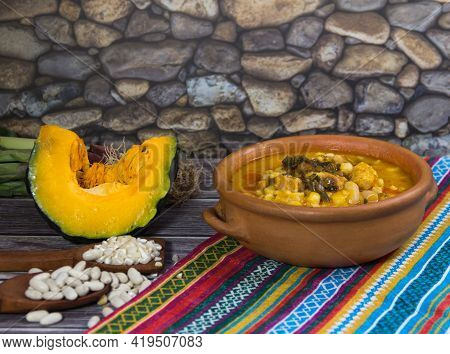 Northern Locro Dish And Ingredients, Typical To Celebrate National Days In Argentina. Traditional Ga