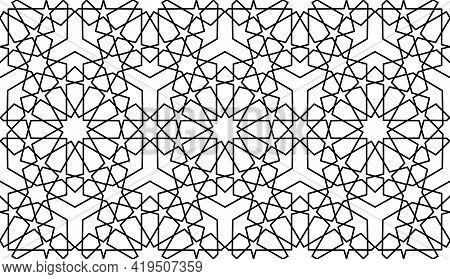 Seamless Islamic Pattern, Black Line Art Persian Motif. Ramadan Banner Arabic Round Pattern Elements