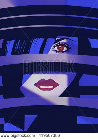 A Woman Is Seen Through Black And White Stripes And Is In Shadows That Emphasize Her Eye And Lips. T