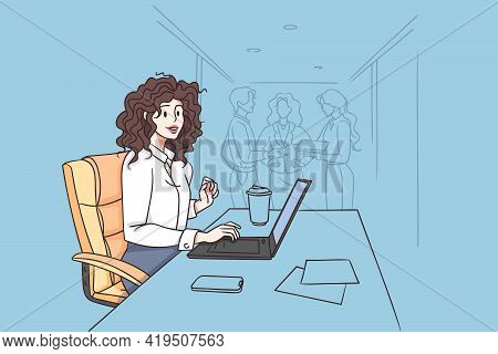 Working In Office And Businesswoman Concept. Smiling Curly Attractive Confident Businesswoman Sittin