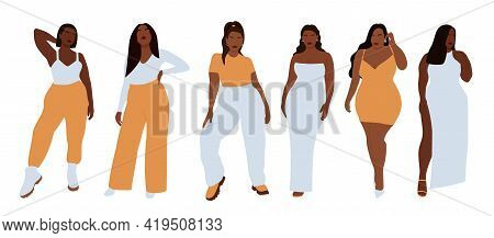 Modern Set Of Black Curvy Women, Great Design For Any Purposes. Beauty Fashion Female Figure. Vector