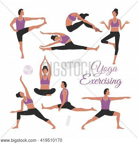 Yoga Stretches Exercising Vector Icon Set. Fit Woman, Man Doing Stretching Exercises Background. Ind