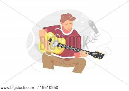Young Musician Playing Guitar Instrument Vector Illustration. Guitar Player Singing Song And Playing