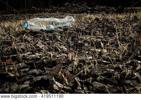 Plastic Waste. Rubbish Garbage In Woodland. Trash In Environment Forest. Save Nature Ecology And Pol