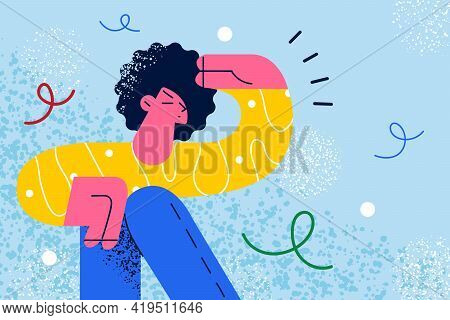 Searching And Looking For Somebody Concept. Young Curious Curly Haired Woman In Holding Hand Above E