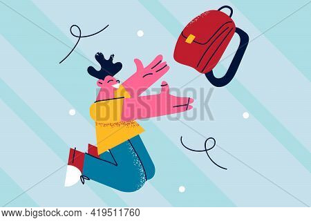 Happy School Times Concept. Young Happy Positive Preteen Schoolchild Boy Catching Backpack Wearing P