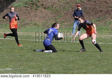 Odessa, Ukraine -17 April 2021: Cup Of Ukraine Among Women's Rugby Teams 7. Odessa - Blue, Kiev Avia