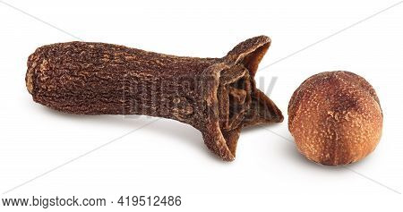Dry Cloves Isolated On White Background With Clipping Path And Full Depth Of Field.
