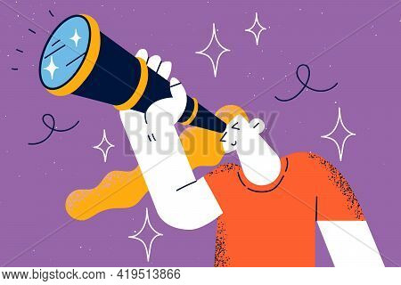 Searching For Somebody, Research Concept. Young Curious Woman Holding Binoculars In Hand And Looking